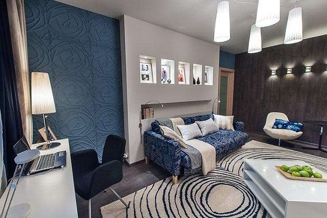 ديكور لغرفة معيشة باللون الأزرق