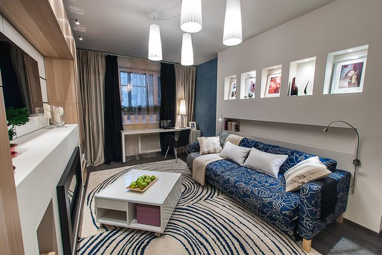 ديكور غرفة معيشة باللون الأزرق