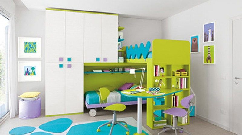 تصميم غرفة أطفال مودرن بسريرين