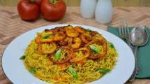 طريقة عمل أرز بالجمبري و السبيط