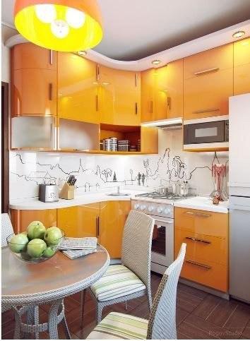 صور ديكور مطبخ صغير برتقالي