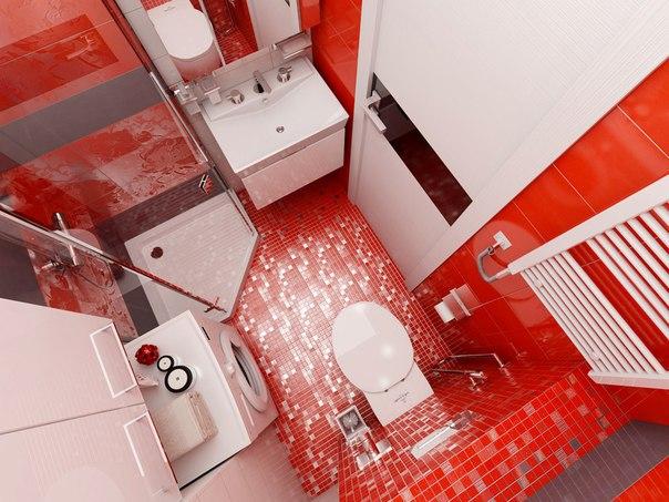 صور ديكور حمام باللون الأحمر