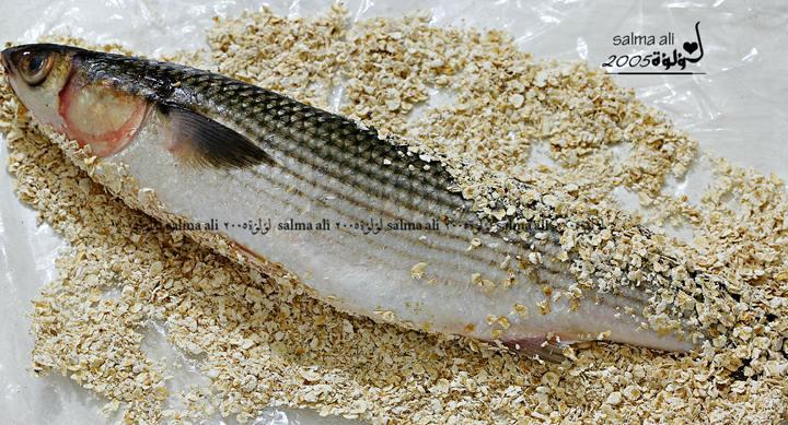 طريقة عمل السمك المشوي بالردة بالصور