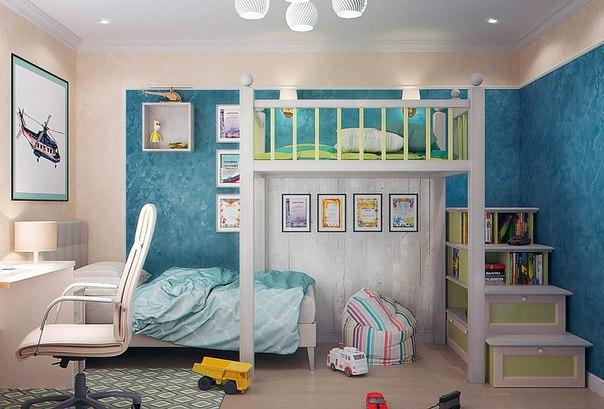 ديكور بالصور لغرفة أطفال بسريرين