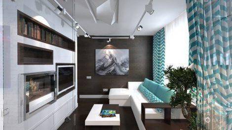 ديكور شقة باللون الأبيض و التيركواز