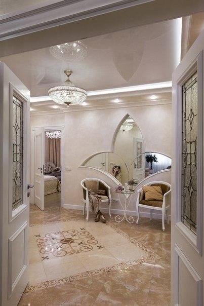 بالصور ديكور شقة كلاسيك باللون الأبيض
