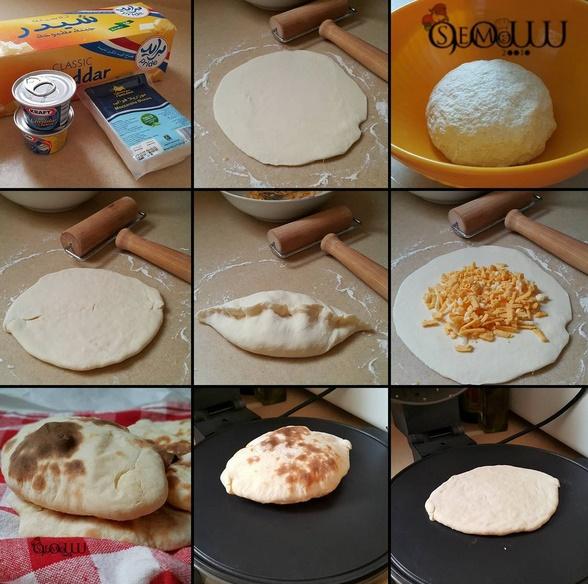 خبز الزبادي بحشوة الشيدر