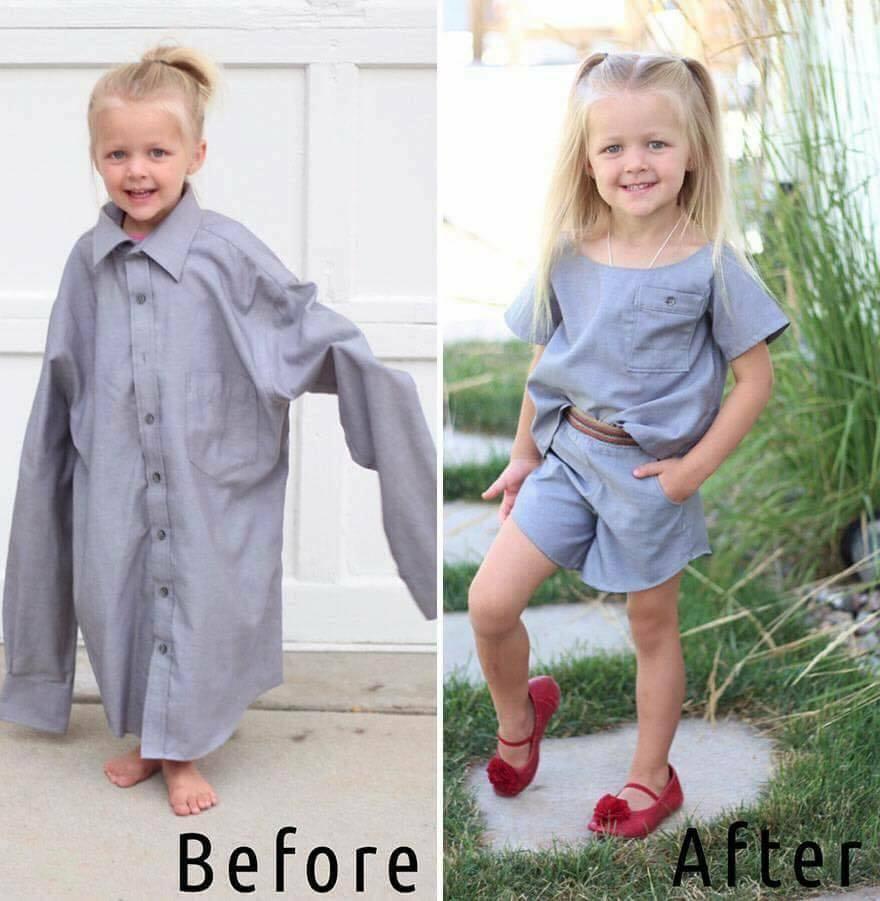 أمريكية تحول قمصان زوجها القديمة لفساتين لطفلتها