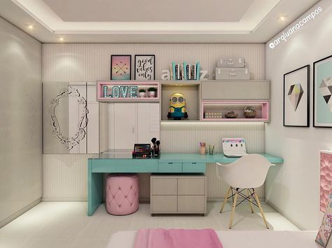 بالصور ديكور غرفة بنات باللون الروز و الأبيض من كل الجهات