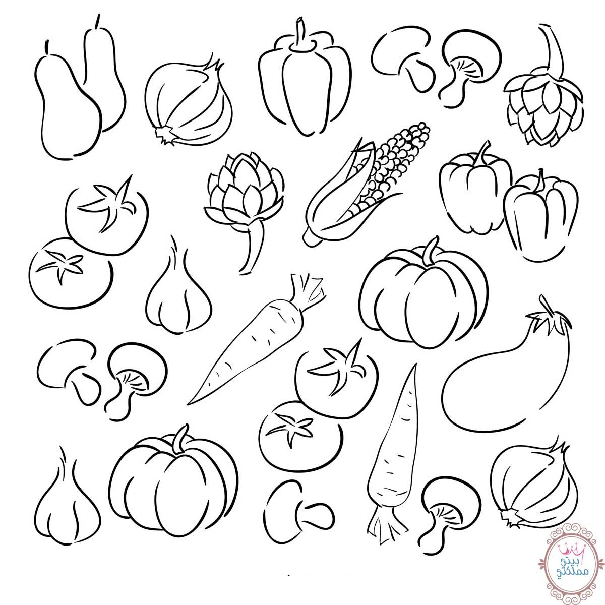 رسم خضروات للتلوين