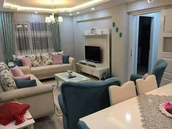 ديكور شقة تركية بسيطة باللون الأبيض و الأزرق بالصور
