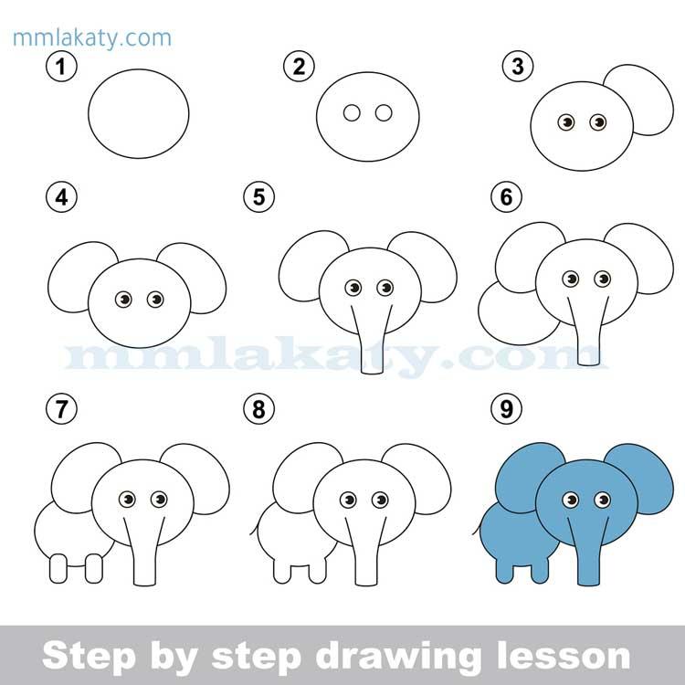 طريقة رسم الفيل للأطفال بأسهل خطوات بالصور